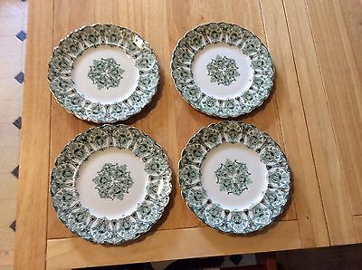 """4 Antique J.G. Meakin Hanley England Green, White and Gold Plates  8"""""""