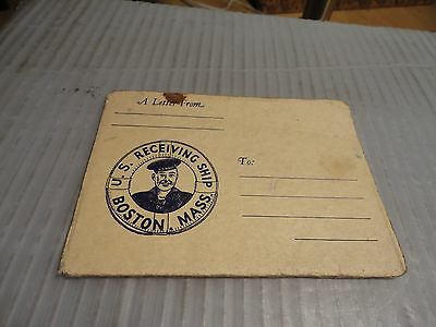 VINTAGE WWII U.S. NAVY BOOT CAMP POST CARD Letter Bookletet Boston Mass