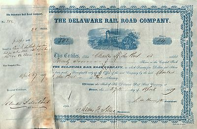Crisp Rare 1St Iss Delaware Rr Stock Iss To Henry Dupont/signed Charles Dupont!!