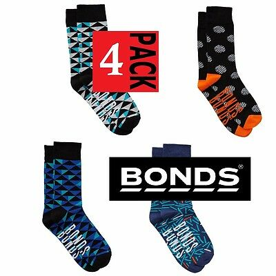 Mens Bonds BULK 4 PACK STREET SOCKS Cotton CREW Sock Black Blue Grey  Orange