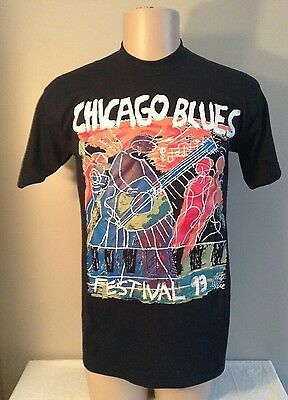 Vintage 1993 Chicago Blues Festival shirt art work by Andy Kane NWOT 50/50