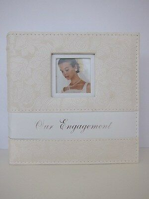 "Small Wedding/Bridal Photo Album - Ivory rose design - ""our engagement"""