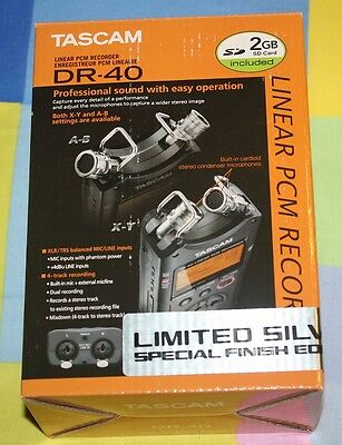NEW Tascam DR-40 4-Track Handheld Digital Audio Recorder Silver Limited Edition