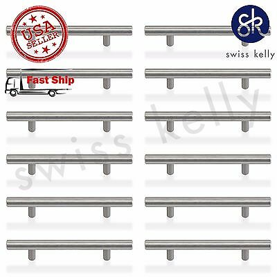 12 Pack Stainless Steel T Bar Pulls Kitchen Hardware Drawer Cabinet Handle