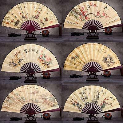 New Hot Cool Child Men Chinese Painting Fan Folding Silk Hand Fans Collection