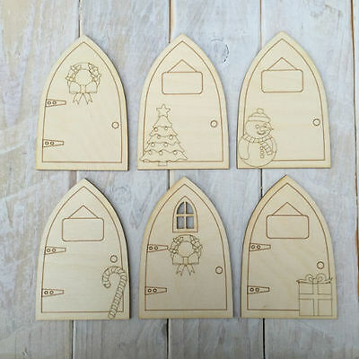 6 assorted designs Plywood Christmas Fairy Elf Doors Code Ast PX