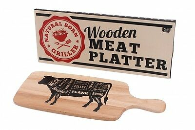 Dad's Barbecue Wooden BBQ Meat Serving Board Plate Tray Platter Cow   ART803