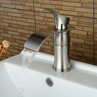 """7"""" Waterfall Bathroom Faucet Chrome/Brushed Nickel/Oil Rubbed Bronze Vessel Tap"""