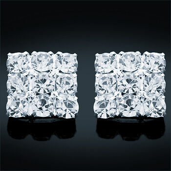 Handcrafted Square Crystal Diamante Stud Earrings (Large Stones)