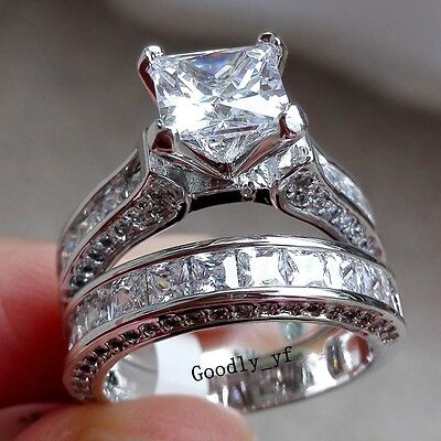 Victoria Princess Cut 7mm Topaz 14K White Gold Filled Women Engagement Ring set