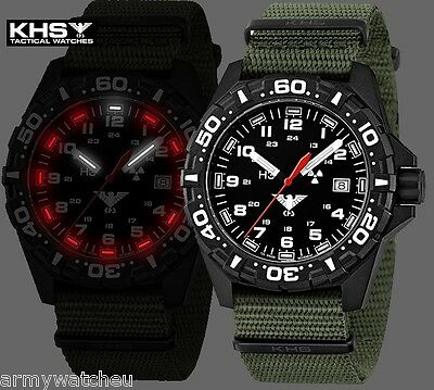 KHS Tactical Watches Reaper Black Police Watch Red H3 Light Date green Army Band