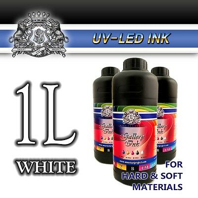 1L WHITE UV LED Ink Epson DX head, Konica, Seiko, Ricoh Excellent quality UK EU