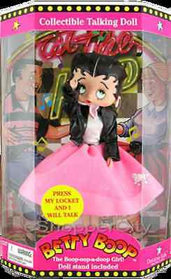 "FREE Ship Canada BETTY BOOP Talking Doll Figure 12"" FAB '50s PINK SKIRT NEW"