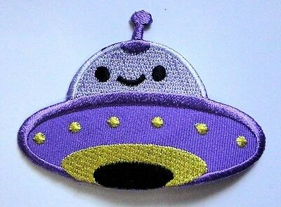 Cute Pretty Purple UFO Alien Embroidered Iron on Patch Free Free Shipping