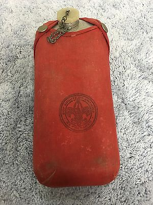 Vintage 1960's Boy Scouts Of America Canteen Be Prepared Aluminum Red Cover D