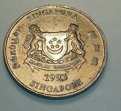 singapore 20 cent coin 1993