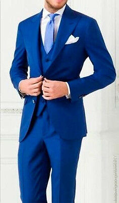 New Royal Blue Wedding Men Suits Groom Tuxedos 3 Piece Formal Best Man Blazers