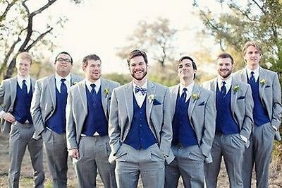 Light Grey Men Wedding Suits with Royal Blue Vest Groom Tuxedos Party Prom Wear