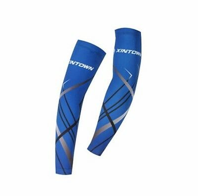 2016 Cycle Bike Bicycle UV Sun Protection Arm Warmers Cuff Sleeve Cover Blue