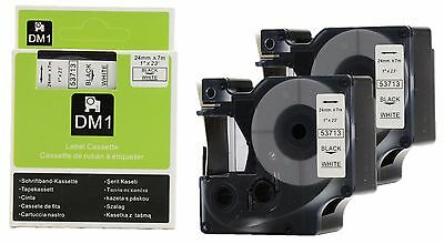 2 x Dymo 53713 compatible label tape Black on White D1 53713 for Label Manager