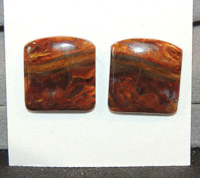 Pietersite Square Cabochon pair 17x16mm with 4mm dome (10431)