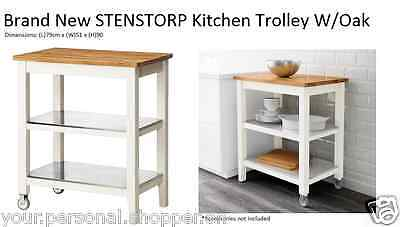Brand New IKEA STENSTORP Kitchen Trolley, White, Oak, Kitchen Table Bench