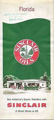 1959 SINCLAIR OIL Road Map FLORIDA Jacksonville Miami Tampa Orlando Tallahassee