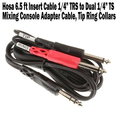 "Hosa 6.5 ft Insert Cable 1/4"" Stereo TRS Male > Dual 1/4"" Mono TS Audio Tip Ring"