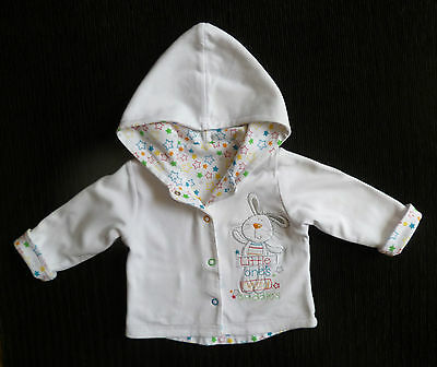 Baby clothes UNISEX BOY GIRL 0-3m reversible bright/white cotton hood jacked