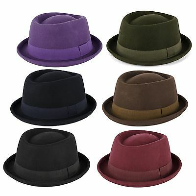 100% Wool Pork Pie Hat with Grosgrain Band Handmade in Italy