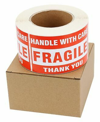 3 Rolls 3x5 Large Fragile Handle with Care Shipping Labels Stickers 500/Roll