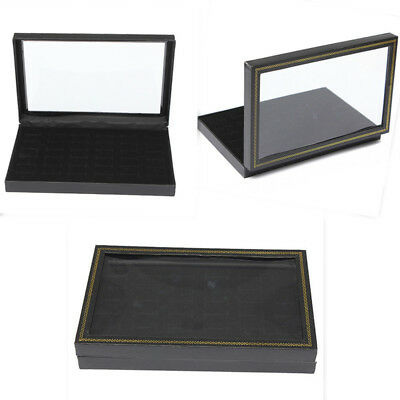 Jewelry Ring Display Tray Black Velvet Pad Show Case Box 36 Slots Insert Holder