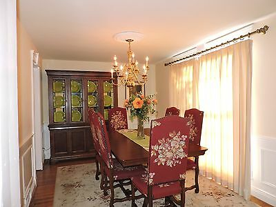 Vintage Dining Room Set w/8 European Upholstered Chairs