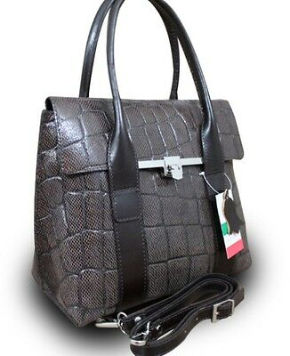 Made In Italy Vera Pelle Italian Real Tote Bag Leather Handbag Crocodile Brown
