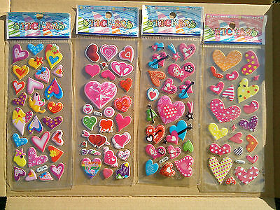 90x Hearts Stickers in 4 sheet  Love & Heart  great idea for books,bedrooms kids