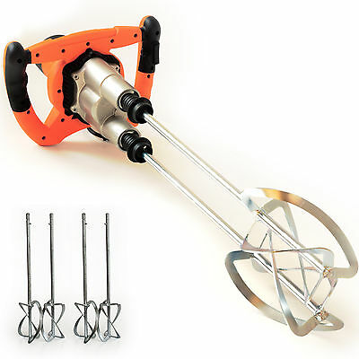 TECHWORK plaster mixer 2050 Watts + 4 paddles drill for cement mortar Plastering