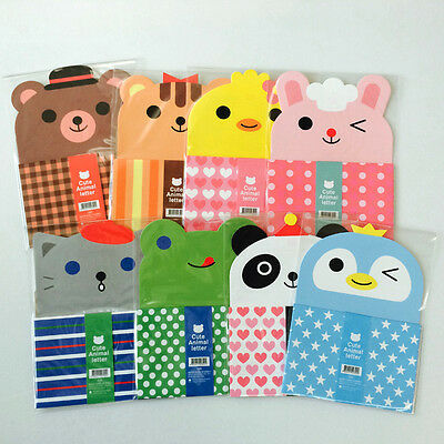 1set So Cute Animals Letter set - 4sh Writing Stationery Paper 2sh Envelope