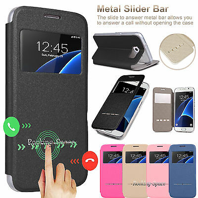 For Samsung Galaxy S7 Edge / S7 Flip Leather Window View Stand Smart Case Cover