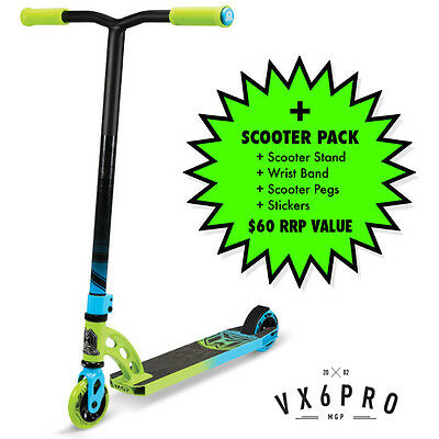 2016 MADD GEAR MGP VX6 Pro Scooter Complete GREEN/BLUE + $60 SCOOTER PACK