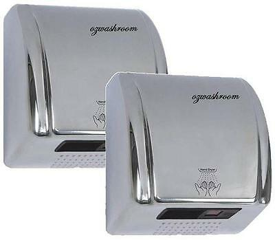 TWO Stainless Steel Automatic Hand Dryer Super Quiet Design 2100w Save $100!