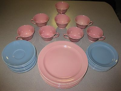 LuRay Pastel Dishes, 32 Piece Set, 8 each Dinner, Dessert Plates, Cups, Saucers