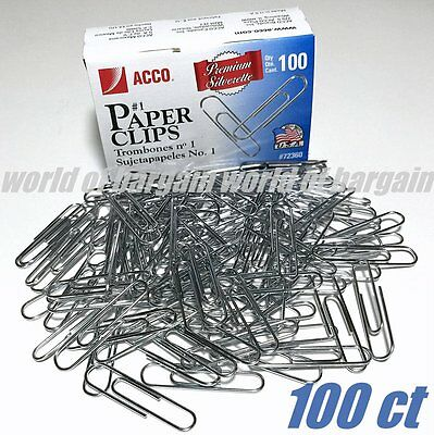 100ct ACCO Paper Clips #1 Trombones Top Quality MADE IN USA File Folder Clip C49