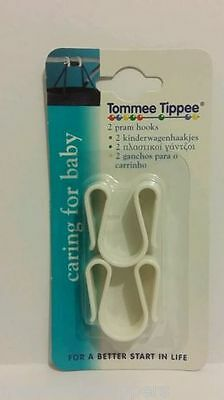 Tommee Tippee Pram Buggy Hooks White pack of 2,NEW Strong Durable