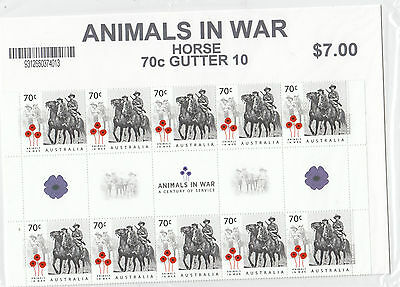 Australia 2015 Animals in War Set of 5 Gutter Strips