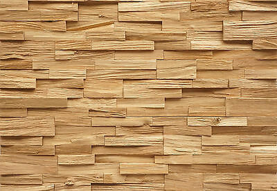 Wall Cladding Splitted Solid Oak Wood Paneling 3D Vintage
