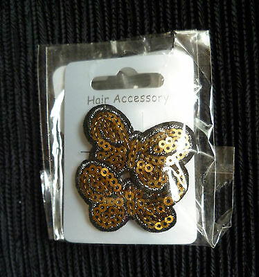 Hair accessories kids 3 years+ 2 gold-colour/black butterfly sequins hair clips