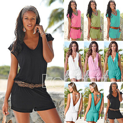 Sexy Womens V Neck Mini Playsuit Jumpsuit Casual Summer Party Shorts Beach Dress