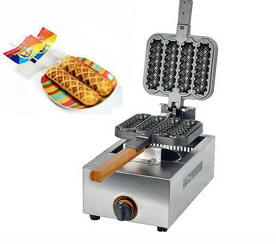 Commercial Non-stick LPG Lolly Waffle Maker Baking Machine 4pcs/time