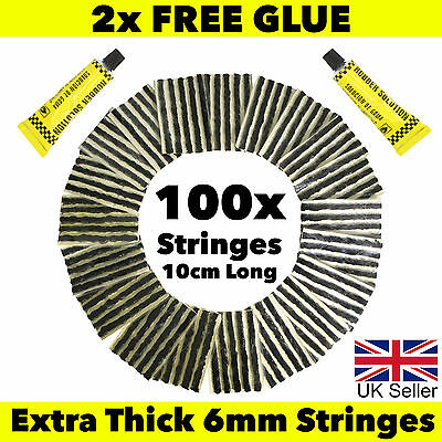 100x Tubeless Tire Tyre Puncture Repair Kit Strips Plug Car Van Truck Bike