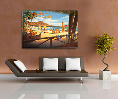 Hawaii Vintage Stretched Canvas Prints Framed Wall Art Home Coffee Shop Decor AU